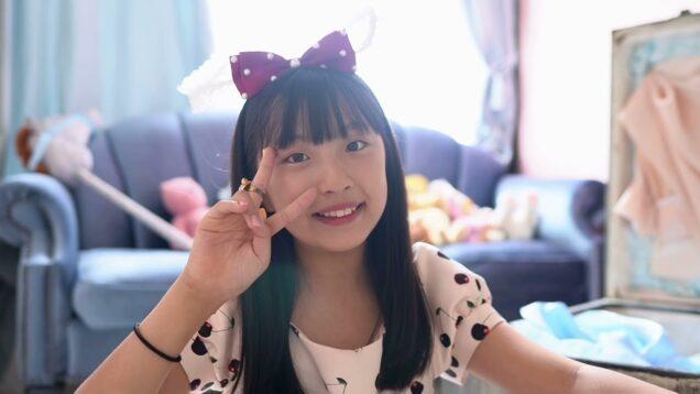 チェリー柄ワンピースで撮影 唯花(  Yuina11 years old  ) ==\(^ω^)